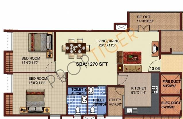 Mahaveer Riviera (2BHK+2T (1,270 sq ft) Apartment 1270 sq ft)