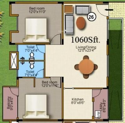 Mahaveer Sanctum (2BHK+2T (1,060 sq ft) Apartment 1060 sq ft)