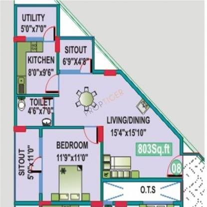 Mahaveer Cedar (1BHK+1T (803 sq ft) Apartment 803 sq ft)