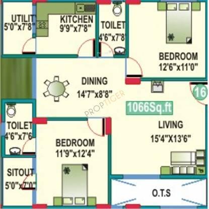 Mahaveer Cedar (2BHK+2T (1,066 sq ft) Apartment 1066 sq ft)