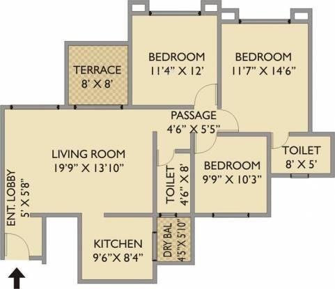 Pride Purple Park Xpress (3BHK+2T (1,250 sq ft) Apartment 1250 sq ft)