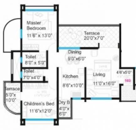 Bhandari Aura (2BHK+2T (1,238 sq ft) Apartment 1238 sq ft)