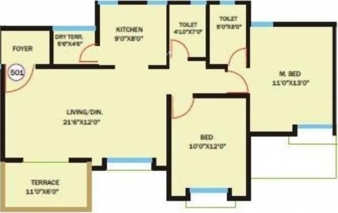 Bhandari Savannah (2BHK+2T (1,001 sq ft) Apartment 1001 sq ft)