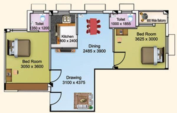 Larica Tolly (2BHK+2T (841 sq ft) Apartment 841 sq ft)