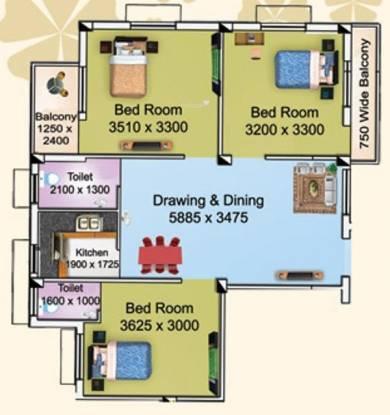 Larica Tolly (3BHK+2T (1,059 sq ft) Apartment 1059 sq ft)