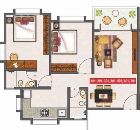 ARK Ganga Alfa Paradise (2BHK+2T (882 sq ft) Apartment 882 sq ft)
