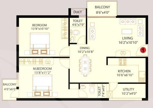 VijayaSri Golden Orchids (2BHK+2T (1,090 sq ft) Apartment 1090 sq ft)