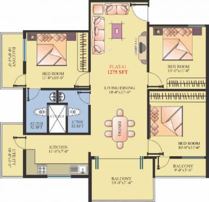 Shravanthi Pristine (3BHK+2T (1,275 sq ft) Apartment 1275 sq ft)