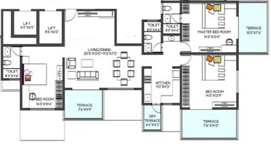 Pristine Shatrunjay (3BHK+3T (1,887 sq ft) Apartment 1887 sq ft)