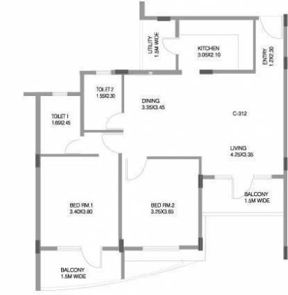 Skyline Fountainhead (2BHK+2T (1,167 sq ft) Apartment 1167 sq ft)