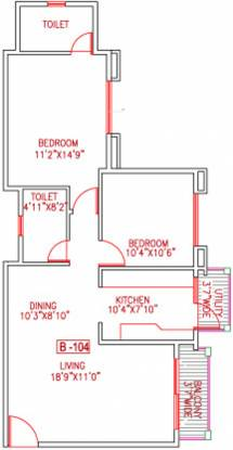 Skyline Waterfront (2BHK+2T (1,015 sq ft) Apartment 1015 sq ft)