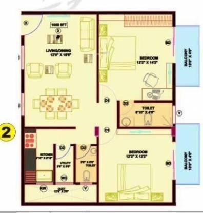 Aspen Prince Princess Palace (2BHK+2T (1,050 sq ft) Apartment 1050 sq ft)