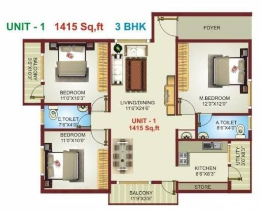 Excel Pranav (3BHK+2T (1,415 sq ft) Apartment 1415 sq ft)