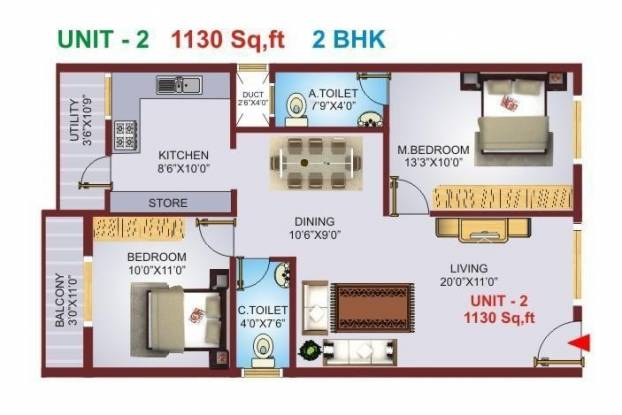 Excel Pranav (2BHK+2T (1,130 sq ft) Apartment 1130 sq ft)