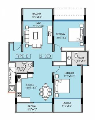 Klassik Benchmark (2BHK+2T (1,390 sq ft) Apartment 1390 sq ft)