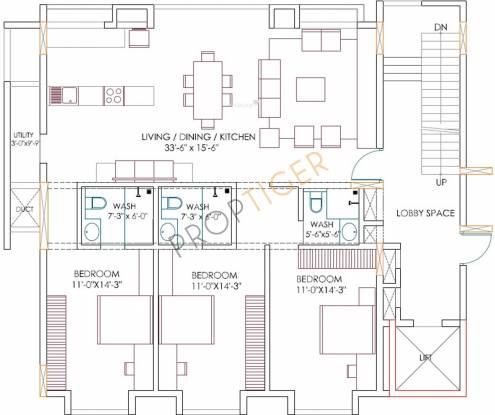 Mythreyi Aikya (3BHK+3T (1,767 sq ft) Apartment 1767 sq ft)