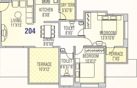 Runwal Snehanjali (2BHK+2T (996 sq ft) Apartment 996 sq ft)