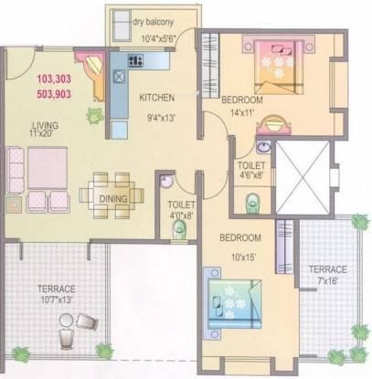 Yash Rhythm (2BHK+2T (1,210 sq ft) Apartment 1210 sq ft)
