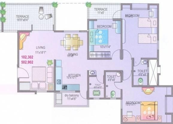 Yash Rhythm (3BHK+3T (1,493 sq ft) Apartment 1493 sq ft)