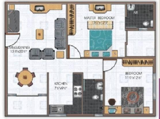 Daya Santara Magan Place (2BHK+2T (1,074 sq ft) Apartment 1074 sq ft)