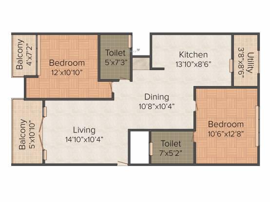 Nirman Meadows (2BHK+2T (1,114 sq ft) Apartment 1114 sq ft)