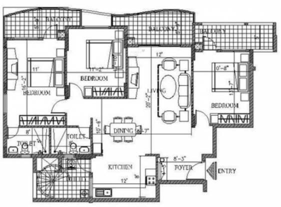 Edifice Grand Edifice (3BHK+2T (1,705 sq ft) Apartment 1705 sq ft)