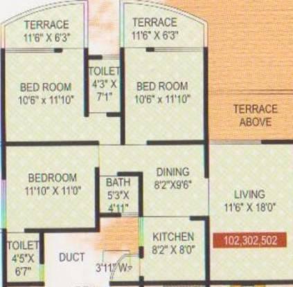 Siddhivinayak Shubhashree Residential (3BHK+3T (1,171 sq ft) Apartment 1171 sq ft)