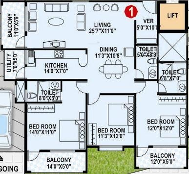 RNG RNG Palm Springs (3BHK+3T (1,755 sq ft) Apartment 1755 sq ft)