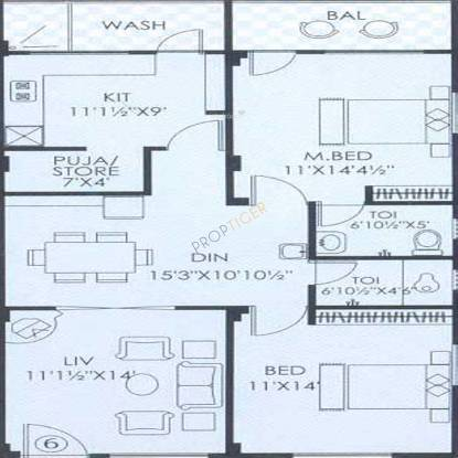 RNG Silver Springs (2BHK+2T (1,255 sq ft)   Pooja Room Apartment 1255 sq ft)