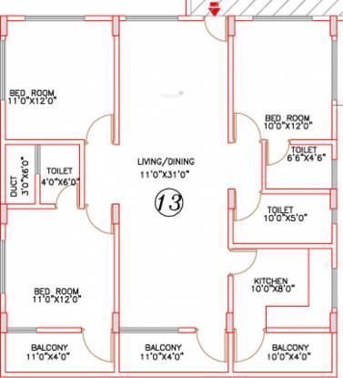 Deccan Arcade II (3BHK+3T (1,332 sq ft) Apartment 1332 sq ft)