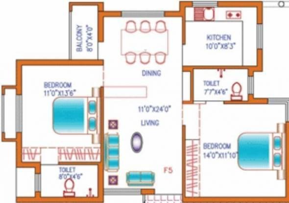 Agni Lakshya Kripa (2BHK+2T (970 sq ft) Apartment 970 sq ft)