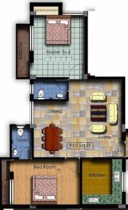 Anuna Araa (2BHK+2T (915 sq ft) Apartment 915 sq ft)