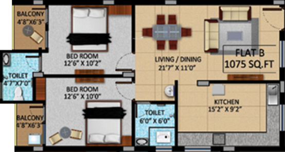 APR Pearl Park (2BHK+2T (1,075 sq ft) Apartment 1075 sq ft)