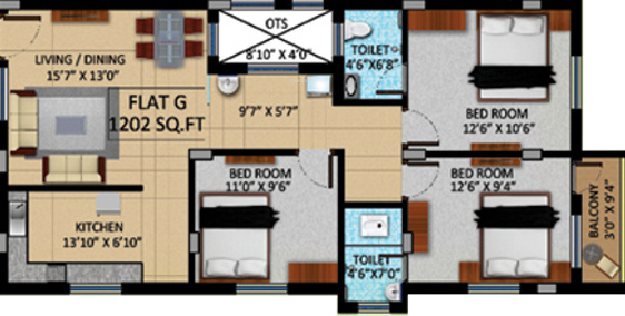 APR Pearl Park (3BHK+2T (1,202 sq ft) Apartment 1202 sq ft)
