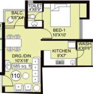 Arihant Frangipani (1BHK+1T (585 sq ft) Apartment 585 sq ft)