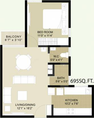 Arun Heights (1BHK+1T (695 sq ft) Apartment 695 sq ft)