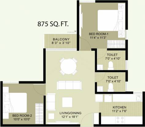 Arun Heights (2BHK+2T (875 sq ft) Apartment 875 sq ft)