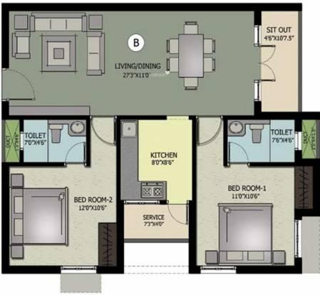 Nahar Jai Madhav (2BHK+2T (1,112 sq ft) Apartment 1112 sq ft)