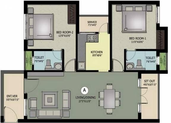Nahar Jai Madhav (2BHK+2T (1,188 sq ft) Apartment 1188 sq ft)