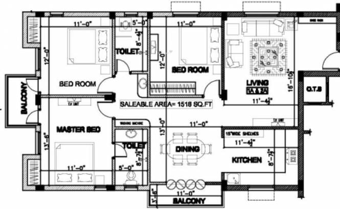 Nahar Cora (3BHK+2T (1,513 sq ft) Apartment 1513 sq ft)