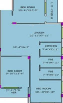 Purti Purti Utsav (3BHK+2T (1,247 sq ft) Apartment 1247 sq ft)
