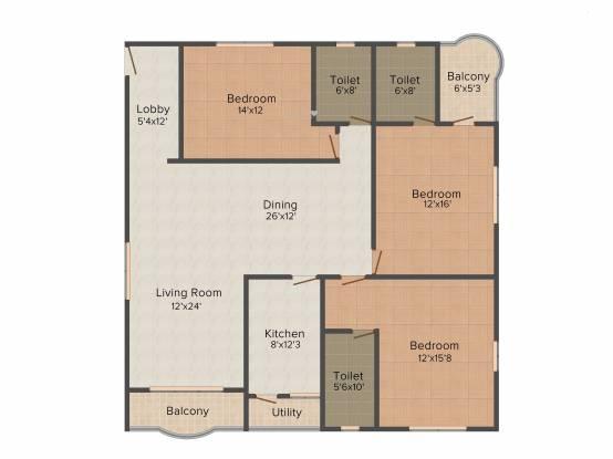 Akshara Petals (3BHK+3T (2,142 sq ft) Apartment 2142 sq ft)