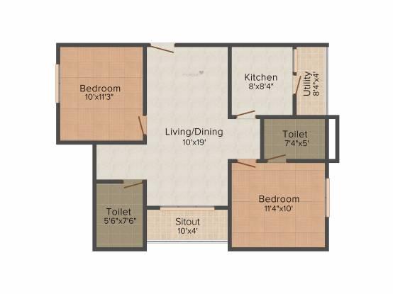 Prajay Megapolis (2BHK+2T (930 sq ft) Apartment 930 sq ft)