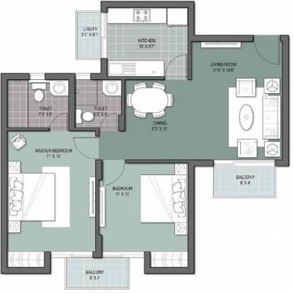 Unitech Gardens (2BHK+2T (1,050 sq ft) Apartment 1050 sq ft)