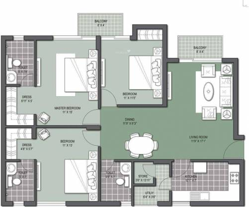 Unitech Gardens (3BHK+3T (1,485 sq ft) Apartment 1485 sq ft)