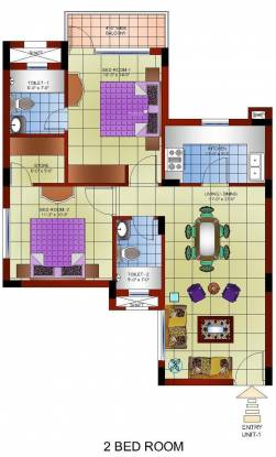Gillco Heights (2BHK+2T (1,101 sq ft) Apartment 1101 sq ft)