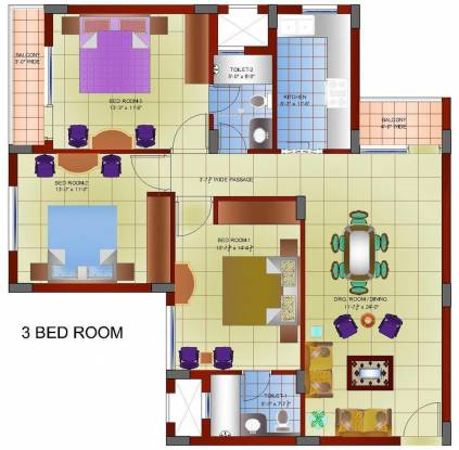 Gillco Heights (3BHK+2T (1,450 sq ft) Apartment 1450 sq ft)
