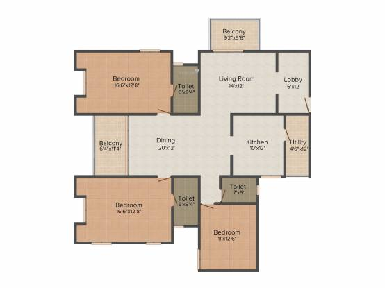 Alliance Orchid Springs (3BHK+3T (2,244 sq ft) Apartment 2244 sq ft)