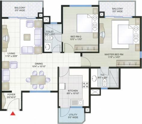 Prestige Shantiniketan (2BHK+2T (1,297 sq ft) Apartment 1297 sq ft)