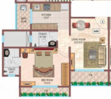 Srishti Oasis (1BHK+2T (600 sq ft) Apartment 600 sq ft)